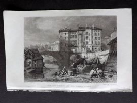 Roscoe 1834 Antique Print. Old Bridge on the Soane, Lyons, France